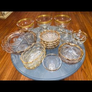 Vintage glass ware trimmed in gold